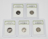 FOUR (4) NICKELS and STATE QUARTER GRADED BY INTERNATIONAL NUMISMATIC