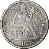 1875-CC BELOW BOW SEATED LIBERTY DIME
