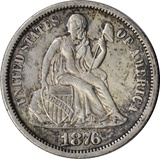 1876-CC SEATED LIBERTY DIME