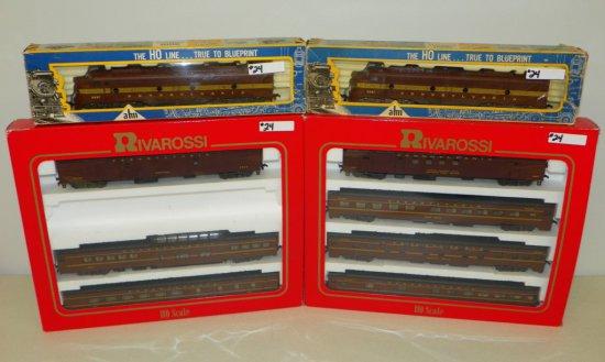 HO Rivarossi Pennsylvania Train Set EMD E-8 Engines & 7 Passenger Cars w/OBs