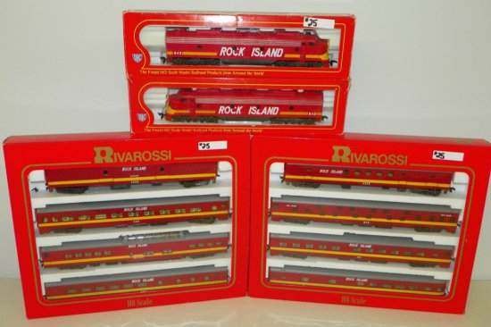 HO Rivarossi/IHC Rock Island Train Set EMD E-8 Engines & 8 Passenger Cars w/OBs