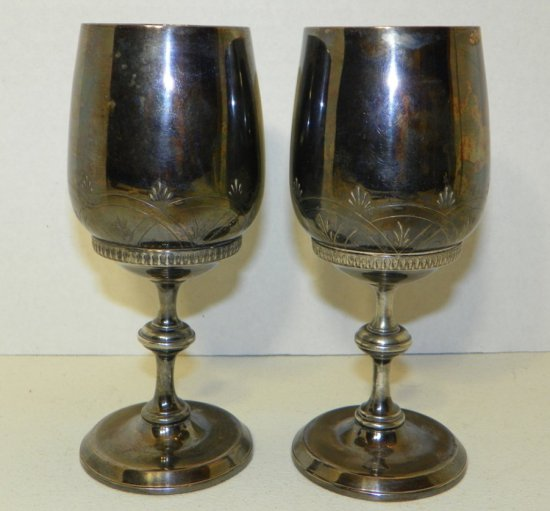 Pair of Gorgeous Meriden Silverplate Wine Goblets