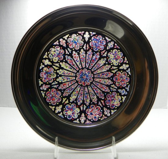 Stunning Creation Rose Stained Glass Plate by US Historical Society