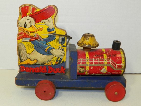 Fisher Price Donald Duck Choo Choo Pull Toy 1940