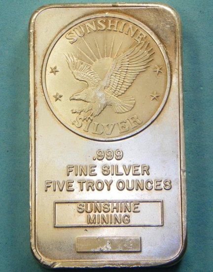 Sunshine Silver 5 Troy Oz .999 Silver Bar