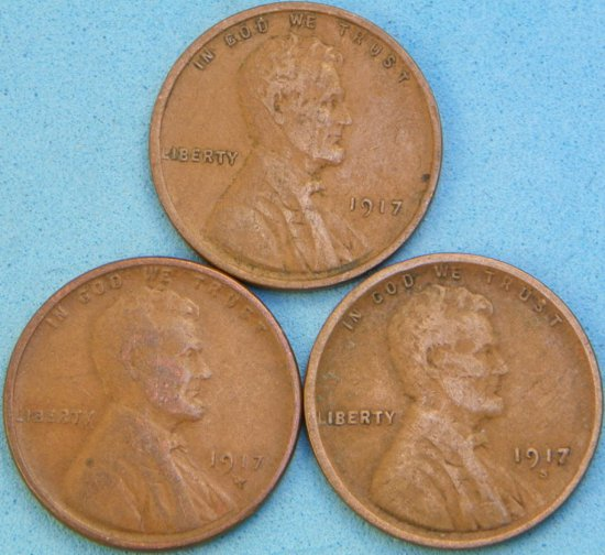 1917-P/D/S Lincoln Head Wheat Cent Lot (One Money)