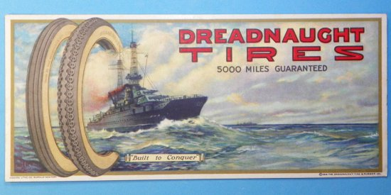 Dreadnaught Tires Ink Blotter with WW1 Warship