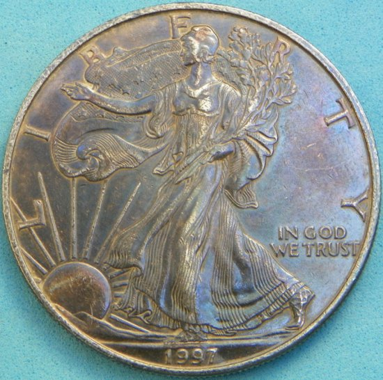 1997 US Silver Eagle with Toning