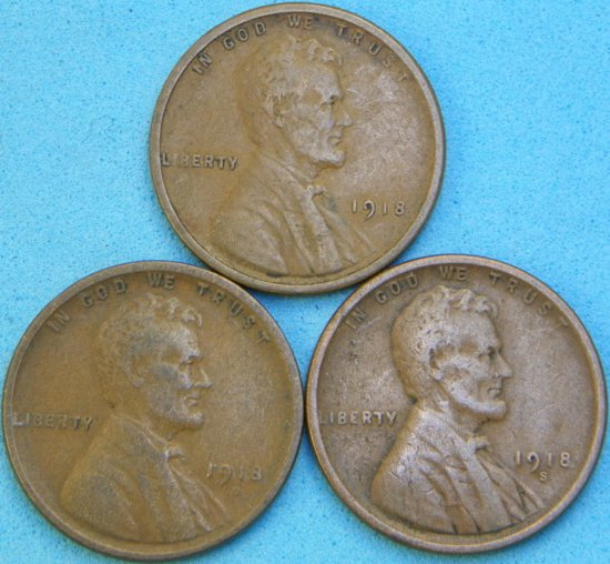 1918-P/D/S Lincoln Head Wheat Cent Lot (One Money)
