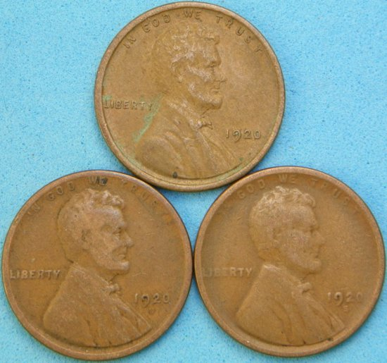 1920-P/D/S Lincoln Head Wheat Cent Lot (One Money)