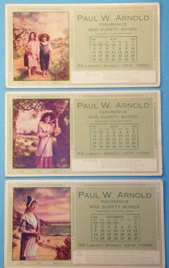 Group 1913 Calendar Ink Blotters, Famous Poems Lithographs