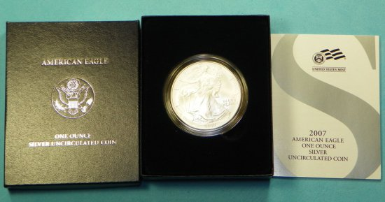 2007 Burnished Silver Eagle w/Box & Papers