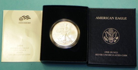 2008 Burnished Silver Eagle w/Box & Papers