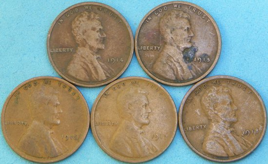 Run of 1914-P to 1918-P Wheat Cents (One Money)