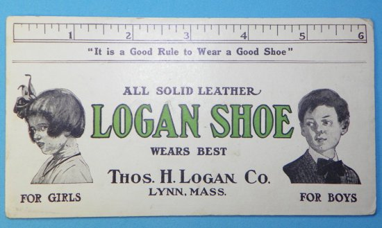 Logan Shoe Ink Blotter with Boy & Girl and Ruler Edge