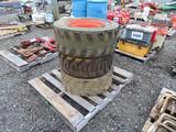 Lot of 3 - 8 lug Skid Steer Tires