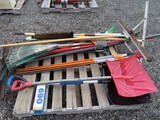Lot of Snow Shovels, Brooms and Plow Stakes