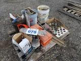 Misc Lot of Tools, Sprinkler Heads, Blacktop Filler