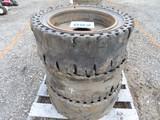 Lot of 3 8 Lug Skid Steer Wheels w/ Solid Tires