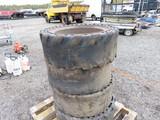 Lot of 4 8 Lug Skid Steer Wheels w/ Solid Tires