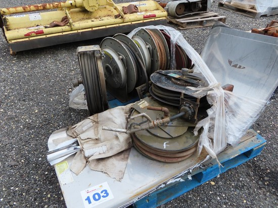 Lot of 6 Retractable Hose Reels / Tractor Fenders