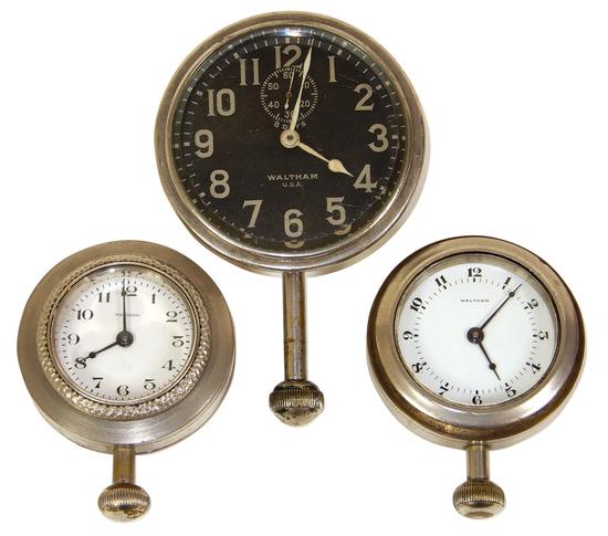 Automotive Clocks (3), Waltham, manual wind, c.1920s,