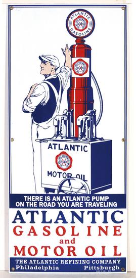 Petroliana Sign, Atlantic Gasoline & Motor Oil, heavy