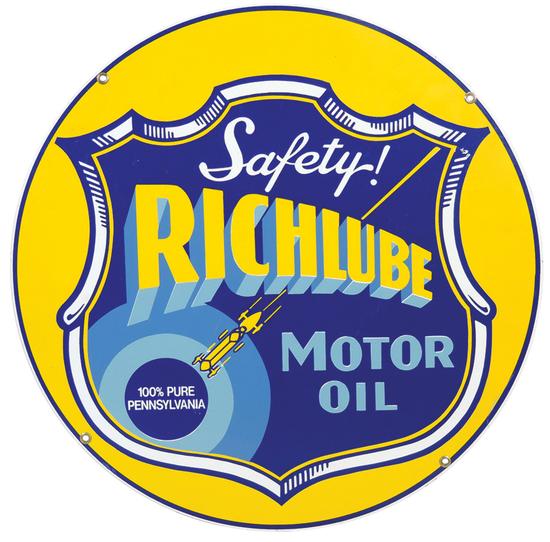 Petroliana Sign, Richlube Motor Oil, 6-color enamel on