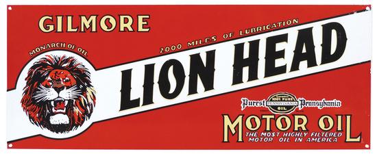 Petroliana Sign, Gilmore Lion Head Motor Oil, heavy