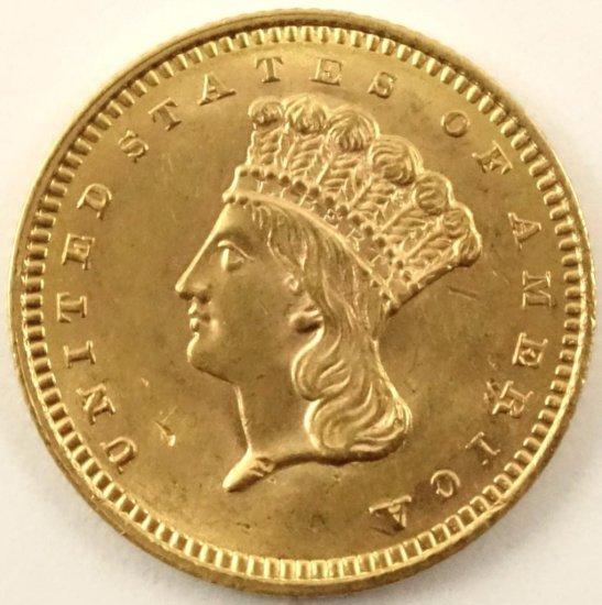 1859 $1 Indian Princess Gold.