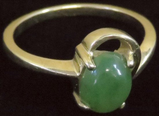 Ring tests 14K with green stone. Approx 2.4 grams.
