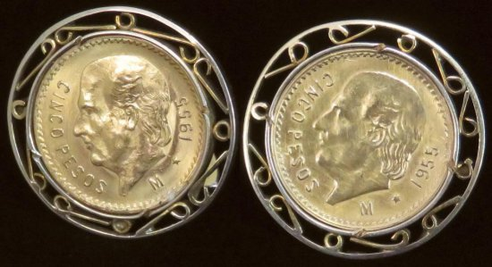 Pair of Gold Coin Cufflinks - both contain 1955 10 Pesos Gold each in bezels tests 14K. Approx 16.6
