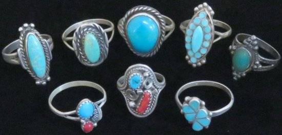 Lot of (8) Sterling Silver Southwest Rings most with turquoise. Approx 26.9 grams.