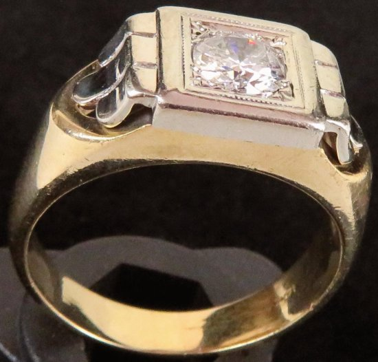 14K Yellow Gold Men's Ring with .76ct. round brilliant cut diamond I1 clarity and H in color.