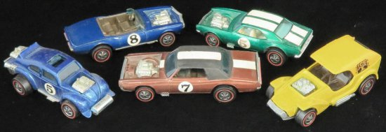 Lot of (5) Hot Wheels Redline includes 1969 Light-My-Firebird, 1969 TNT Bird, 1970 Evil Weevil, 1969