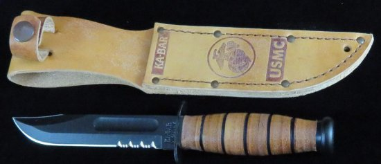 KA-BAR USMC Knife - Serr. Edge Short with sheath in box. 02-1252.