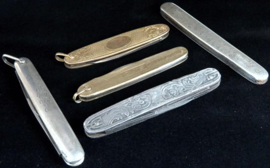 Lot of (5) vintage Pocket Knives includes Empire 14K, Sterling (broken blade), 10K, Krusius Bros. St