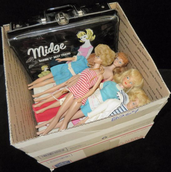 Barbie Doll Lot! Barbie, Midge, Skipper & more! (8) Dolls (some with cut hair) with 1964 Skipper C