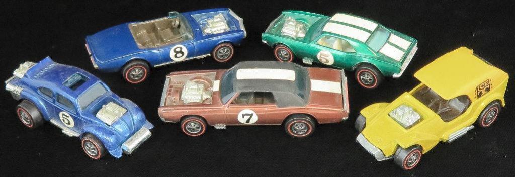 Lot of (5) Hot Wheels Redline includes 1969 Light-My-Firebird, 1969 TNT Bird, 1970 Evil Weevil, 1969