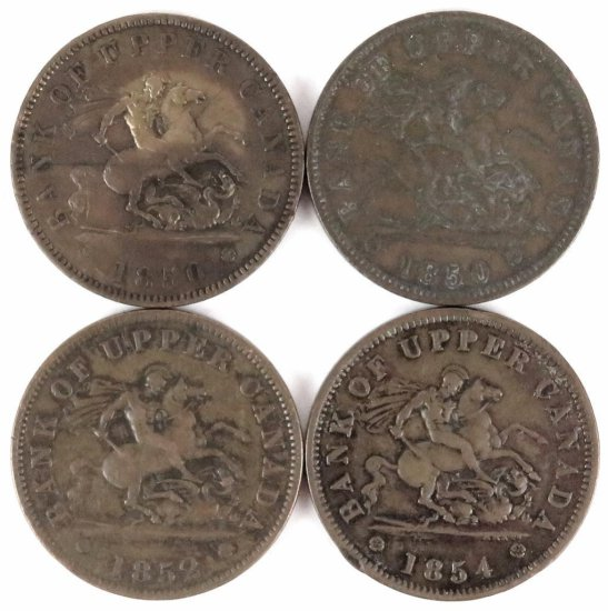 Lot of (11) Canada - Upper CANADA Penny includes (2) 1850, 1852, (2) 1854 & (6) 1857.