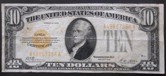 1928 $10 GOLD CERTIFICATE
