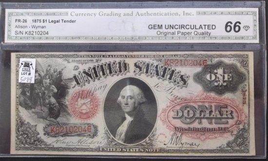 1875 $1 USN FR 26 CGA GEM CU 66
