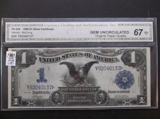 1899 $1 SILVER CERTIFICATE BLACK EAGLE CGA GEM CU 67 FR 229