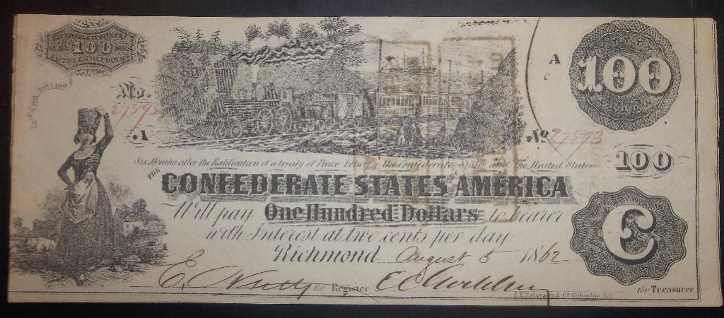 AUGUST 5, 1862 $100 CSA NOTE