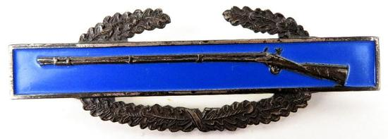 WWII Sterling Silver Combat Infantry Badge Blue Enamel.
