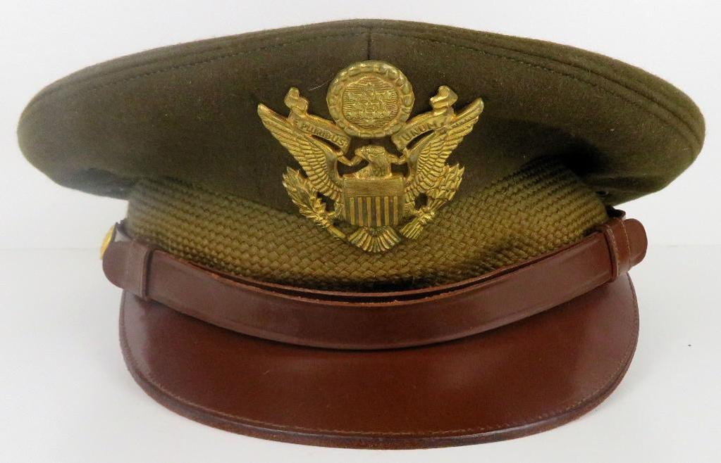 Original WWII U.S. Army Officer's Visor Service Cap / Hat with Brown Leather Brim & Hat Badge Size L