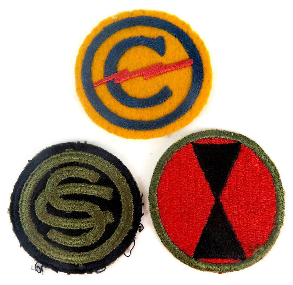 Lot of (3) WWII Army Patches includes Constabulary Patch, 7th Infantry Division Patch & Officer Cand