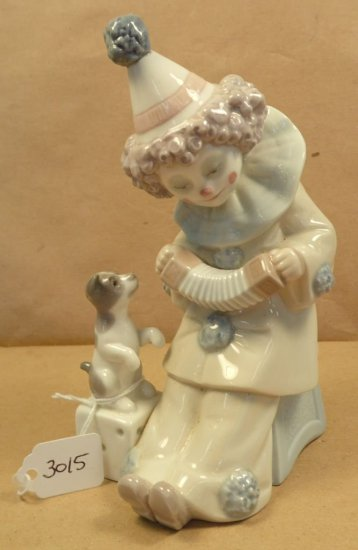 "Lladro ""Pierrot Concertina"" Clown with Puppy Dog #5279."