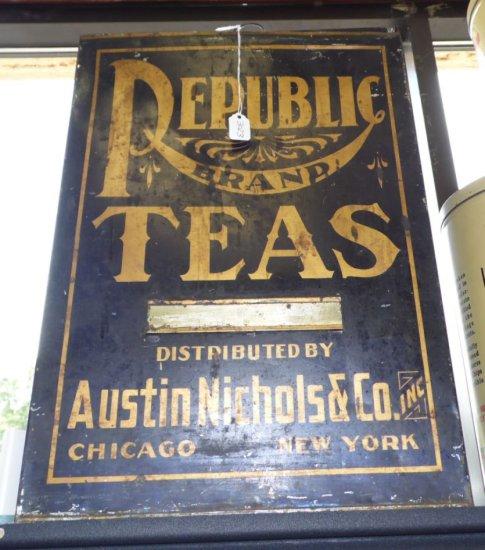 Large decorative antique Tea Tin.  Republic Brand Teas distributed by Austin Nicholas & Co. Inc Chic