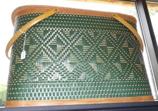 Vintage Retro Woven Burlington Hawkeye Picnic Basket.